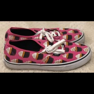 Pink vans with cupcakes on them